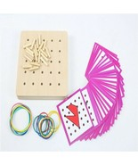 Baby Toys Montessori Graphics Rubber Tie Nail Boards Cards Childhood Edu... - $19.57