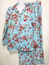 Nick & Nora S Pajama Set Top Pants Strawberry Hearts Lips Blossoms Blue Red - $43.61