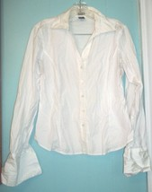 Gap White Tailored look Long Sleeve Top with Cuff Link Holes Cotton Blend Sz M - $25.64