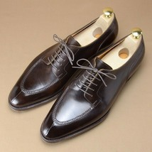 Handmade Men's Black Lace Up Dress/Formal Leather Oxford Shoes image 3