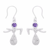 Designer Amethyst & White Topaz 925 Sterling Silver Drop Dangle Earring ... - $33.29