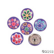 Large Polymer Purple Snap Beads with Flowers - $7.49