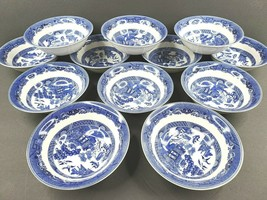 """12 Johnson Bros England 1883 Willow Blue Coupe Cereal Bowls Set 6"""" Asian... - $128.37"""