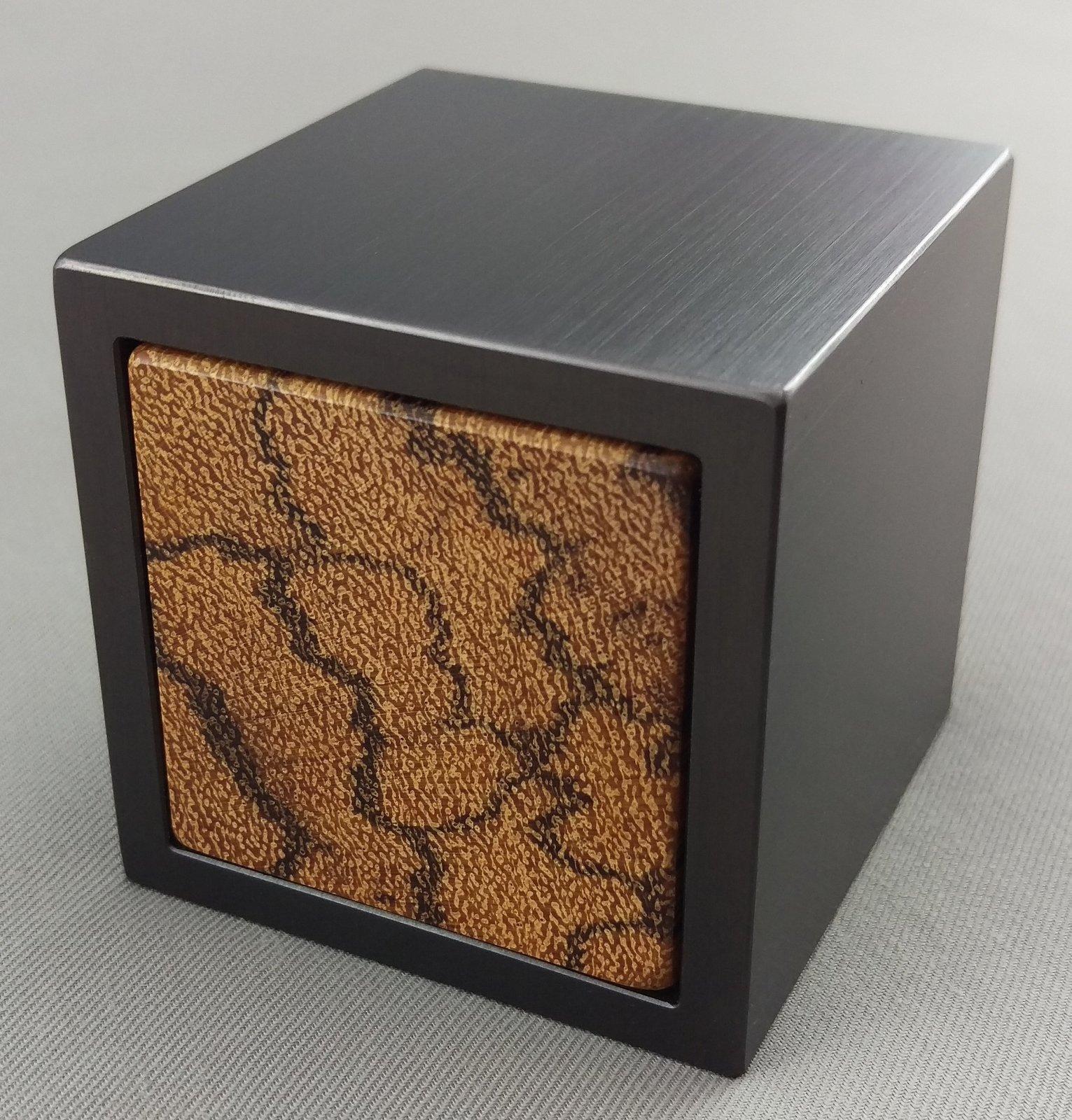 Metal & Wood Cube Engagement Men's Ring Box ,10th Anniversary,Proposal Ring Box