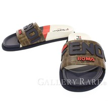 FENDI Sandals Coated Canvas Leather Brown Fila Size 37 Italy Authentic 5... - $431.99