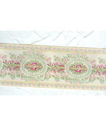 Ultra Lovely  Woven Brocade Very Wide  Ribbon Beige Pink Green - $7.50