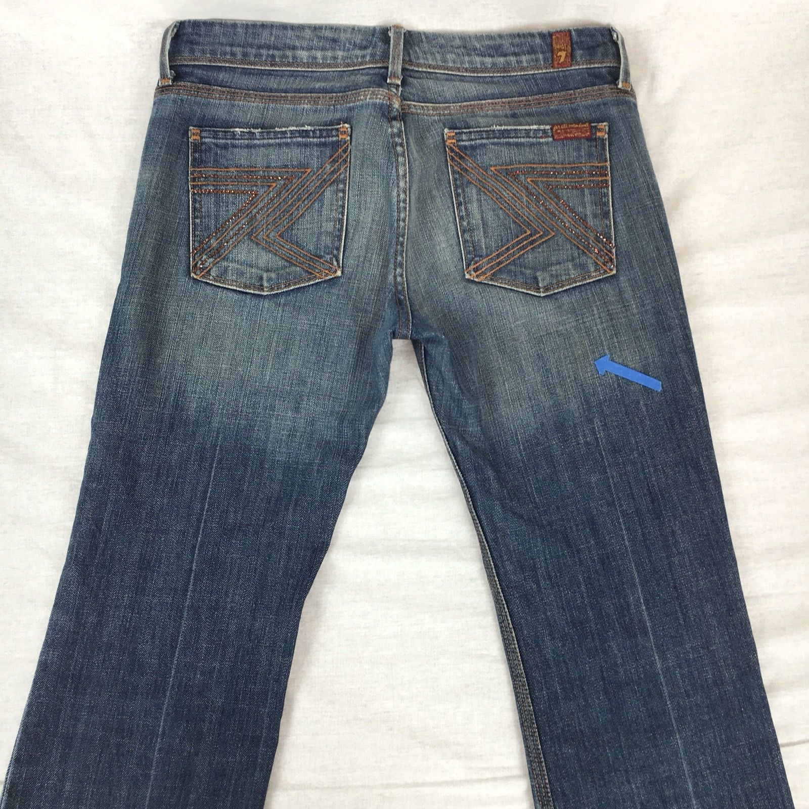 7 For All Mankind Jeans Bootcut Flynt Crystal Pocket Medium Wash Stretch Size 28