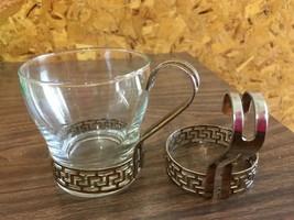 Vintage Libbey Gold Greek Key Glass Continental Coffee Cup Mug & 1 Extra Holder - $8.90