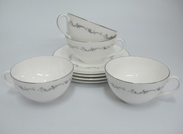 Royal Doulton Coronet Cups and Saucers Lot of 4 White w Gray Scroll Silver Band - $19.79