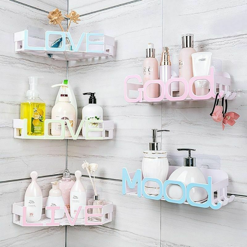 Corner Storage Wall Mounted Plastic Suction Bathroom Shelf Storage Basket Holder