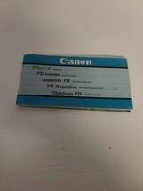 Vintage Ephemera Canon FD Lenses Instruction Manual Booklet 97 Pages Com... - $32.71