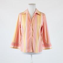 Light orange pink uneven striped cotton TALBOTS 3/4 sleeve button down s... - $19.99
