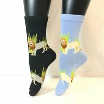 2 PAIRS Foozys Women's Novelty Socks, LION Print, NOP - $8.09