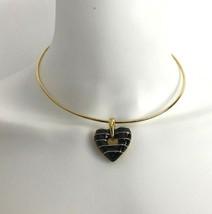 JOAN RIVERS Signed Heart Pendant Slide Necklace Black Enamel GoldTone - $33.96