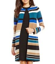 New Calvin Klein Women Engineered Stripe Textured Knit Open Front Cardig... - $98.00