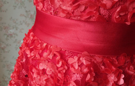 RED Flower Girl Wedding Dress Lace Bead Tea Length Red Wedding Dresses 4-16 image 7