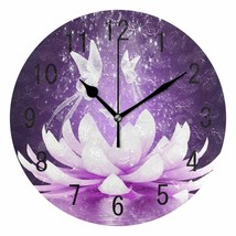 "Nice Wall Clock 9.44"" lOTUS Butterfly Fairy Purple Flower Shabby Chic Fa... - $39.00"