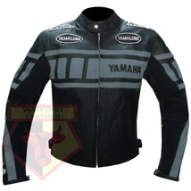 YAMAHA 0120 GREY MOTORCYCLE MOTORBIKE BIKERS ARMOURED COWHIDE LEATHER JA... - $194.99