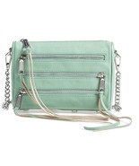 Rebecca Minkoff Mini 5 Zip Sage Green Leather Crossbody Convertible Clut... - $109.50