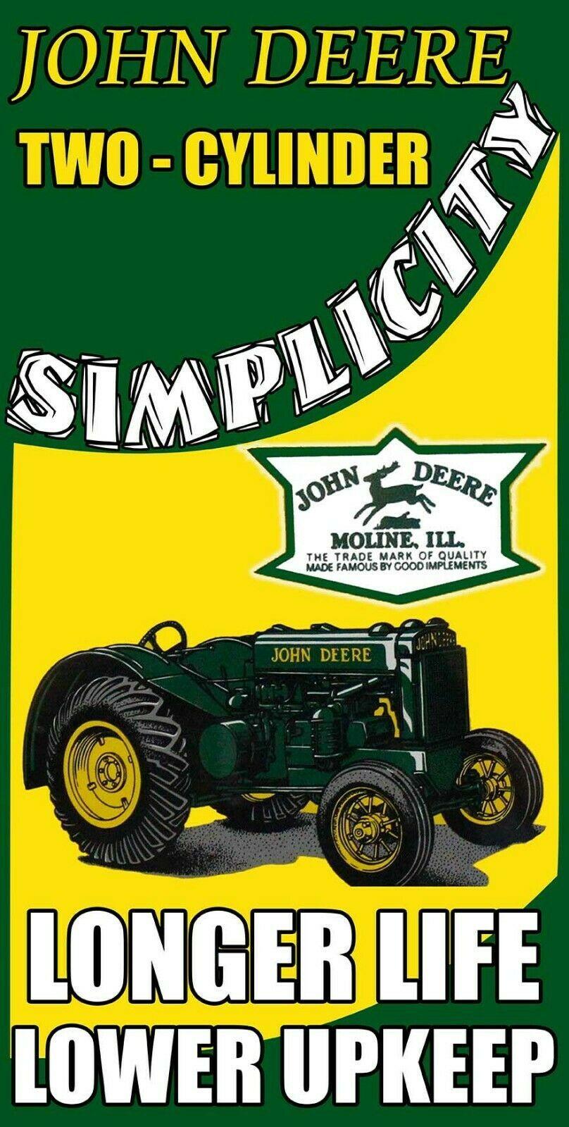 John Deere Simplicity Longer Life Tractor for Farming Metal Sign