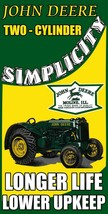 John Deere Simplicity Longer Life Tractor for Farming Metal Sign - $49.95
