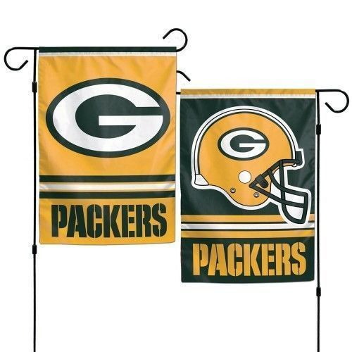 "GREEN BAY PACKERS TEAM GARDEN WALL FLAG BANNER 12"" X 18"" 2 SIDED NFL FOOTBALL"