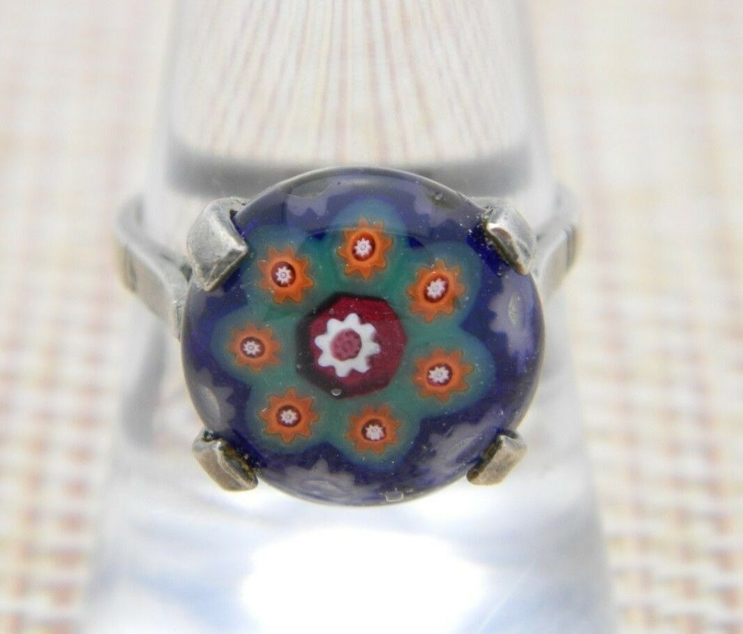 Primary image for Charles Green and Son Sterling Silver Millefiori Glass Flower Ring Size 7.75 VTG