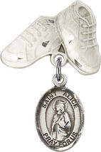 Sterling Silver Baby Badge with St. Alice Charm and Baby Boots Pin 1 X 5/8 inch - $62.30