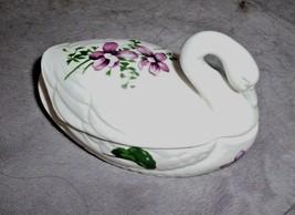Vintage Swan Covered Box W/ Violets Flowers Lefton? Trinket Jewelry Holder - $12.95