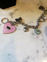 JUICY pink enameled heart charm bracelet, Silvertone. toggle clasp - $24.75