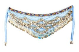 Women's Belly Dance Hip Scarf with Golden Coins - $20.82