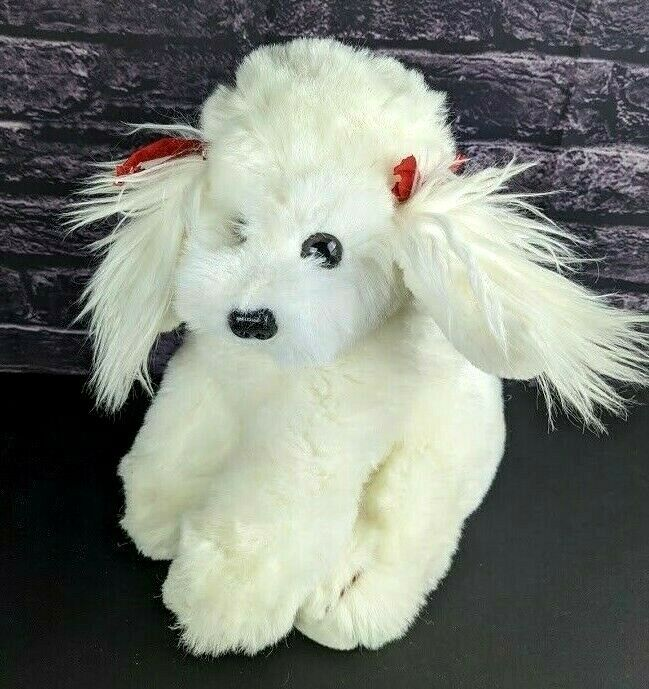 Primary image for Vintage Russ Berrie White Dog Puppy Plush Stuffed Animal Princess Bichon Poodle