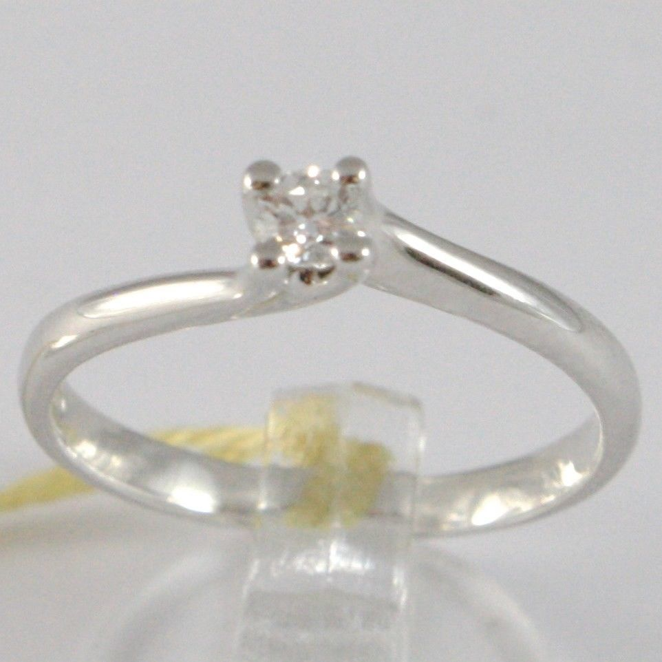 WHITE GOLD RING 750 18K, SOLITAIRE, ROUNDED CRISS CROSSED, DIAMOND, CT 0.12