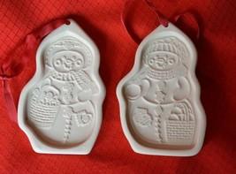 2 Longaberger Cookie Molds Press Christmas Ornaments Snow Friends Snowman 1999 - $9.65