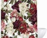 Maroon Burgundy Red Ivory Victorian Floral Classic Fabric Shower Curtain