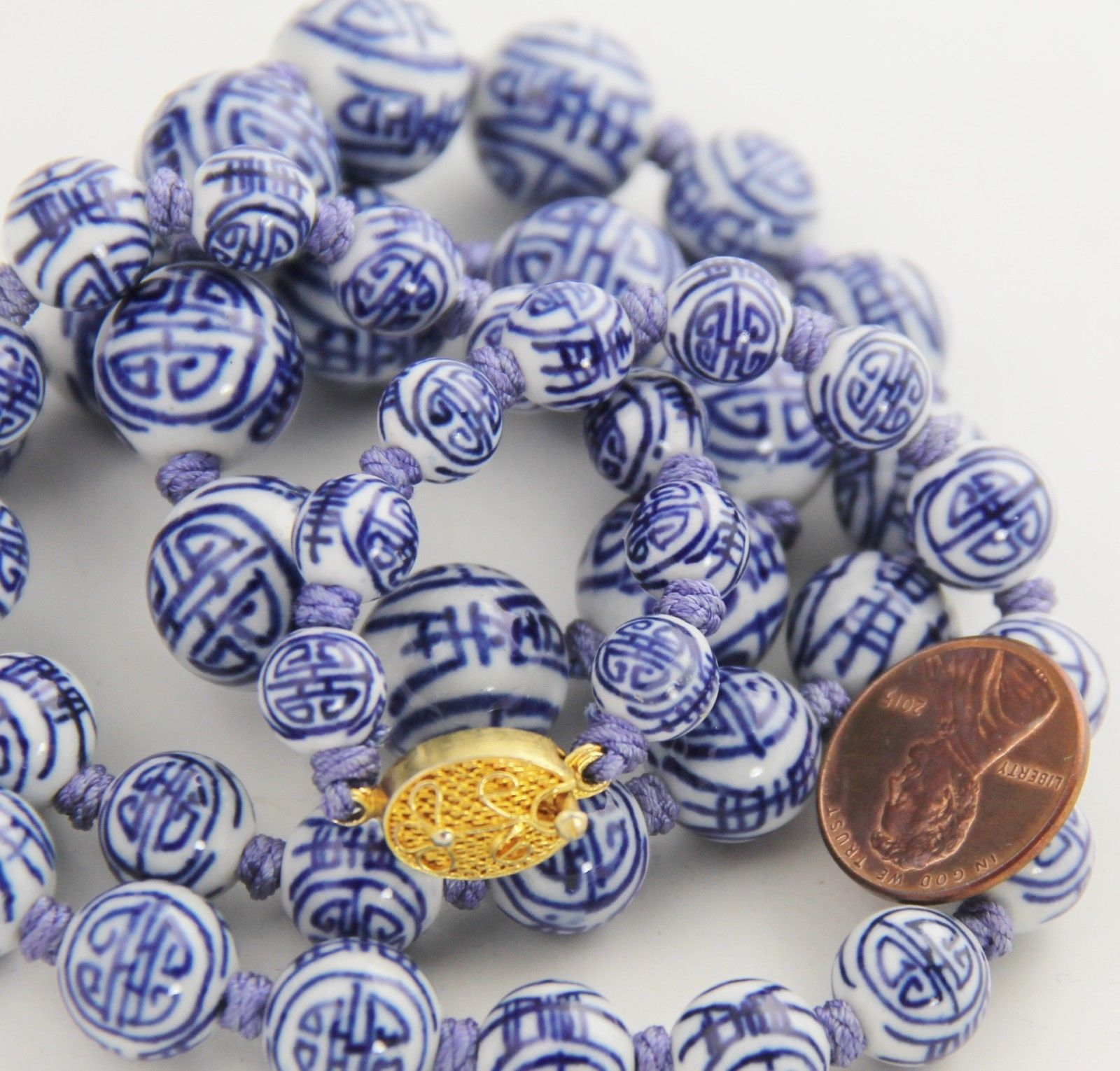"""24"""" VINTAGE Jewelry CHINESE EXPORT HAND KNOTTED PORCELAIN SHOU BEAD NECKLACE"""