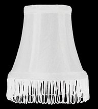 Urbanest White with White Fringe Silk Bell Chandelier Lamp Shade, 3-inch by 5-in - $9.89