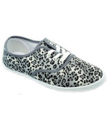 Womens Size 5 Gray Leopard Cheetah Canvas LaceUp Sneakers Plimsoll Tenni... - €13,14 EUR