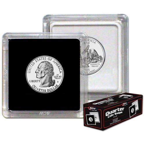 (100) BCW 2X2 COIN SNAP - QUARTER - BLACK - Premium Long-term Storage Snaps