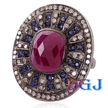 BLUE SAPPHIRE / RUBY Sterling Silver Antique Look Rose Cut Diamond Ring - $234.17