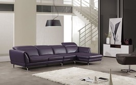 EK-L023 3pcs Purple Leather Matchh Sectional Sofa Right Chaise