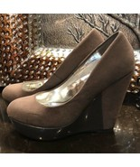 Guess gray tan faux suede wedges - $35.64