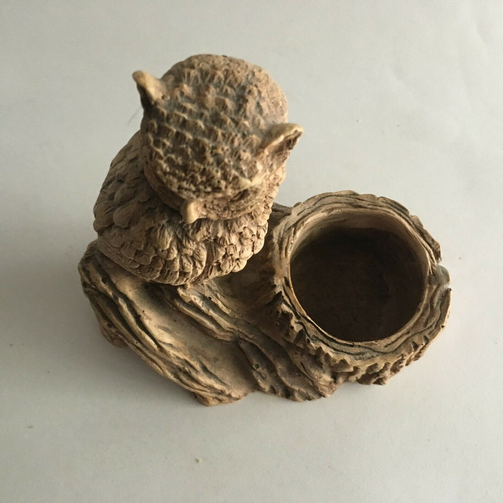 """Owl Figurine On Branch Composite/Resin Statue Candle Holder 2"""" Opening 6"""" X 6"""""""