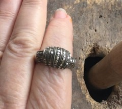Vintage Sterling Marcasite Domed Ribbed Band Ring 8.5 Mid Century Design - $53.99