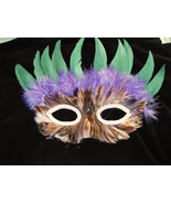 Feather Mask Brown with Purple and Green Accent  Halloween Costume   - $5.95