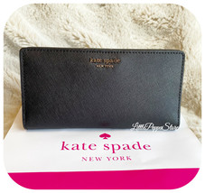 KATE SPADE LEATHER CAMERON LARGE SLIM BIFOLD WALLET IN BLACK - $64.23