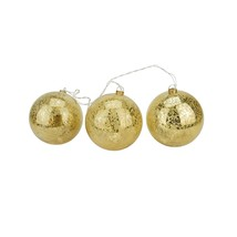 PENN 3 Gold Mercury Glass Finish Christmas Ball Ornaments Clear Lights - $32.66