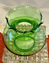 "Vintage Small Green Ruffled Rim Bulb Shaped Vase - 3 1/2"" x 4"" x 4"""