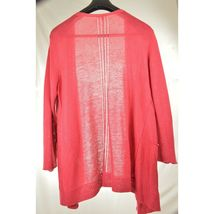 Eileen Fisher sweater cardigan SZ L soft red 100% linen knit pockets soft long s image 10