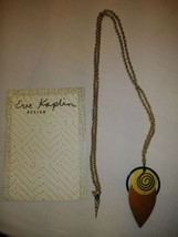 "UNIQUE EVE KAPLIN 17"" NECKLACE HANDMADE ABSTRACT ART JEWELRY bronze blac... - $44.55"